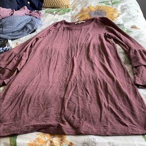 GUC loft sweatshirt style dress with bell sleeves